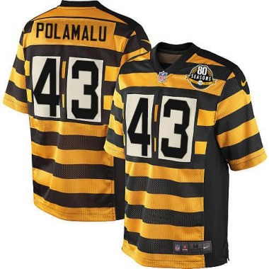Men's Nike Pittsburgh Steelers Troy Polamalu Alternate 80TH Anniversary Throwback Jersey - Yellow/Black Game