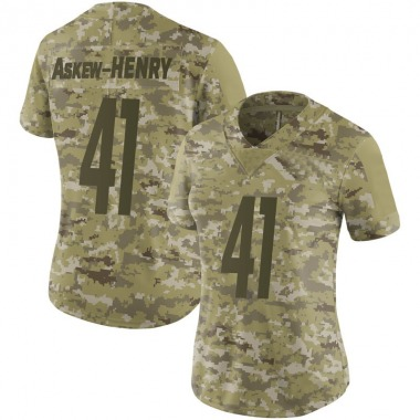 Women's Nike Pittsburgh Steelers Dravon Askew-Henry 2018 Salute to Service Jersey - Camo Limited