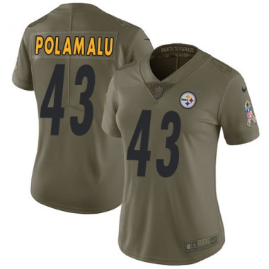 Women's Nike Pittsburgh Steelers Troy Polamalu 2017 Salute to Service Jersey - Olive Limited