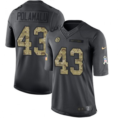 Youth Nike Pittsburgh Steelers Troy Polamalu 2016 Salute to Service Jersey - Black Limited